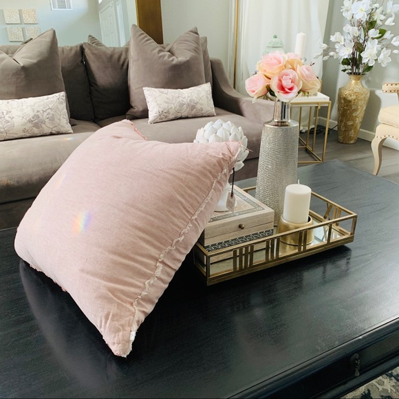 Hearth and hand pink raw edge pillow new